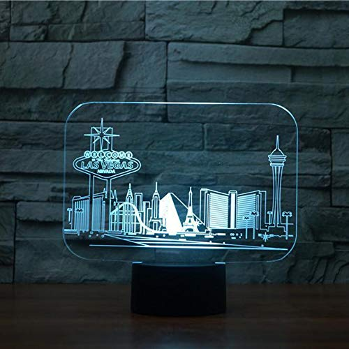 AAMOUSE Las Vegas 3D Construction Night Light 7 Color Changing Touch Switch Bedroom Desk Table lamp for Children Gift]()