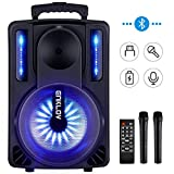 LUCOG Portable Wireless Karaoke Microphone with LED Light,Mini Handheld Cellphone Karaoke Player Aluminium Alloy Bluetooth Mic Machine for Home KTV,2600mAh【Gold】