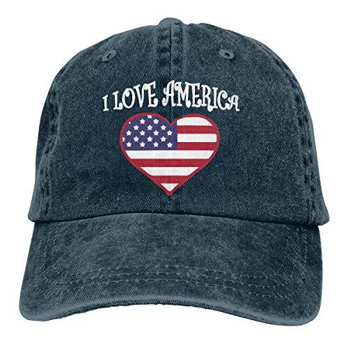 Men Women I Love America Baseball Cap Denim Dad Hat Trucker's Cap