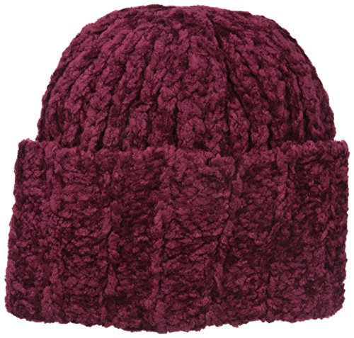 Collection XIIX Women's Chenille Super Cuff Beanie, Wild Cranberry, One Size