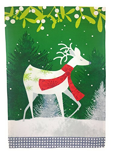 (Winter Garden Flag 12 inches by 18 inches Double Sided Reads Correctly Both Sides (White Deer with Scarf Red and Green Christmas)