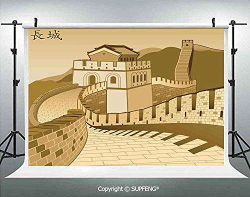 Photo Backdrop Great Wall of China with Ancient Castle at Sunset Silk Road Barrier Old Cultural Heritage Print 3D Backdrops for Interior Decoration Photo Studio Props