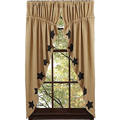 (Nancy's Nook Burlap Natural Prairie Curtain Black Stencil Stars Set of 2 63x36x18)