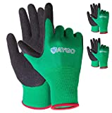 Work Gloves for women and men - 3 Pairs Latex Textured Coated, KAYGO KG13LC,Ideal For Gardening,Yard work and Fishing