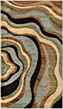 "Hudson Waves Blue Brown Geometric Modern Casual Area Rug 2×4 ( 2'3″ x 3'11"" ) Easy to Clean Stain Fade Resistant Shed Free Abstract Contemporary Natural Lines Multi Soft Living Dining Room Rug Review"