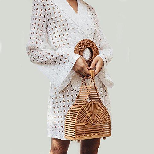 Donne Occidentale Mano Stile Superiore Maniglia Gereton Spiaggia Bambù Da Borse A Tasca Delle Borsa D'estate Fatti Intrecciato Di qpTawnzExa