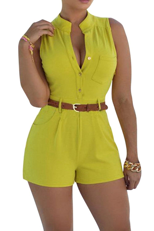 Fixmatti Women Summer Sleeveless V-neck Belted Short Jumpsuit Romper with Pocket