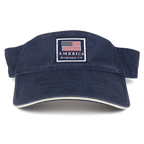 Cotton Washed Twill Sandwich - America Established 1776 Embroidered Cotton Washed Twill Visor - NAVY