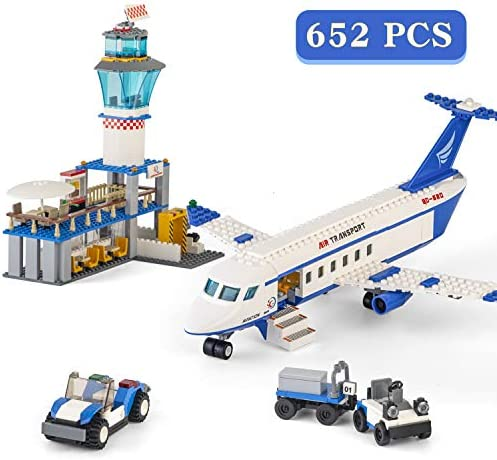 City Airplane Station Building Kits ToysSTEM Building Sets for KidsHelicopter / Airport / Passenger / Lorry Truck / Car Best Gift for 6-12 Boys and Girls(652 Pieces)