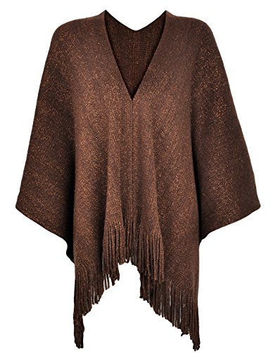 ZLYC Women's Night Sparkle Sweater Shawl Knit Blanket Wrap Open Front Fringe Poncho Cape Cardigan (Coffee)