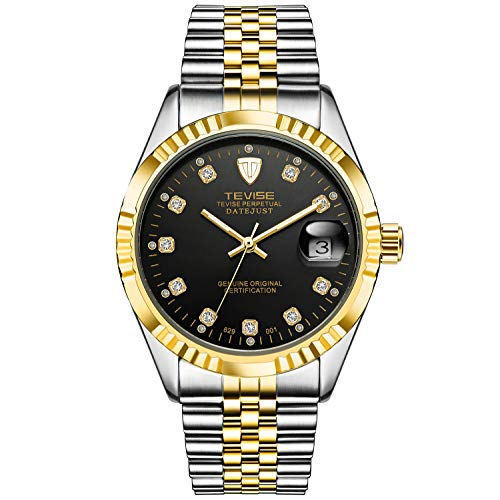 Luxury Mens Watches Automatic Mechanical, Luminous, Date, Tourbillon Causal Waterproof Two Tone Stainless Steel Wristwatch Black Dial