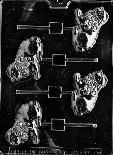 Cybrtrayd Life of the Party E199 Lamb with Bow Lolly Easter Chocolate Candy Mold in Sealed Protective Poly Bag Imprinted with Copyrighted Cybrtrayd Molding Instructions