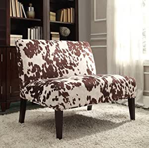 inspire q wicker faux brown cow hide fabric 2 seater accent loveseat sofa. Black Bedroom Furniture Sets. Home Design Ideas