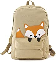 Sleepyville Critters - Peeking Baby Fox Canvas Backpack Khaki