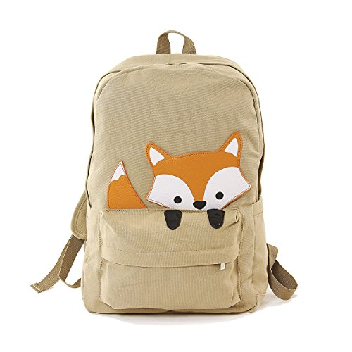 Sleepyville Critters Orange Baby Fox Animal Vegan Canvas School Laptop Backpack