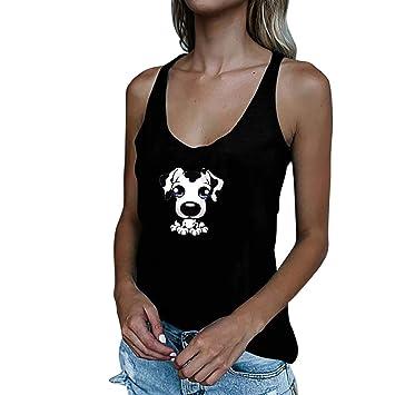 27c868289cf19 Women s Tops Jiayit Ladies Casual Cute Round Collar Cartoon Animal Print  Sleeveless Vest Top T-