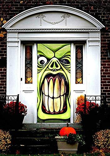 Halloween Haunted House Green Goblin Door Cover by Greenbrier