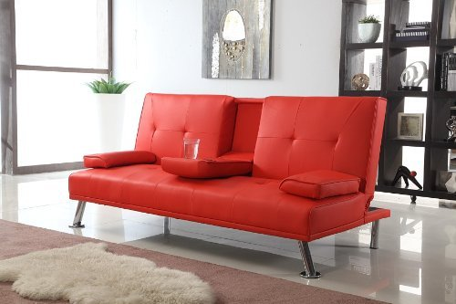 Comfy Living Cinema Style Futon Sofabed With Drinks Table Sofa Bed Faux Leather in Red