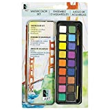 Art Alternatives Pocket Watercolor Set of 18 Half Pans of Brilliant Transparent Paint and 1 Round Brush