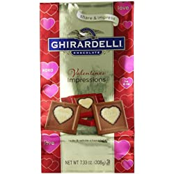 Ghirardelli Limited Edition Valentine's Impressions Squares Milk Chocolate, White, 7.33 Ounce