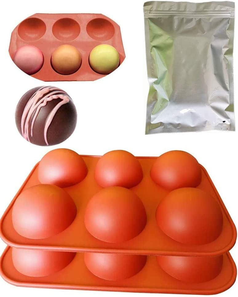 (55g) Small 2 Pcs 1.95 Inch Small 6 half Circle Food Grade Silicone Molds for baking,Chocolate dessert Ball mold