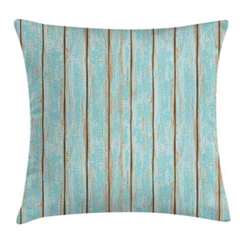 Cheap Lunarable Wood Print Throw Pillow Cushion Cover, Old Fashioned Weathered Rustic Planks Summer Cottage Beach Coastal Theme, Decorative Square Accent Pillow Case, 24 X 24 Inches, Pale Blue Tan