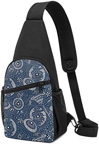 ボディ肩掛け 斜め掛け 和風 傘柄 幾何の図案 ショルダーバッグ ワンショルダーバッグ メンズ 軽量 大容量 多機能レジャーバックパック