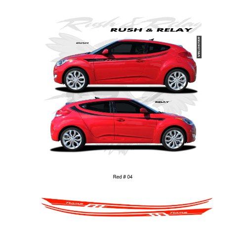 Hyundai Veloster Red Body Side Stripes Graphic Kit