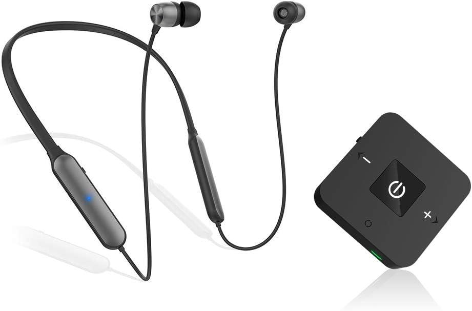 Golvery Auriculares Bluetooth para ver televisión con transmisor inalámbrico, auriculares con adaptador de audio de baja latencia para PC y juegos, digital óptico, RCA, auxiliar de 3,5 mm, Plug n Play