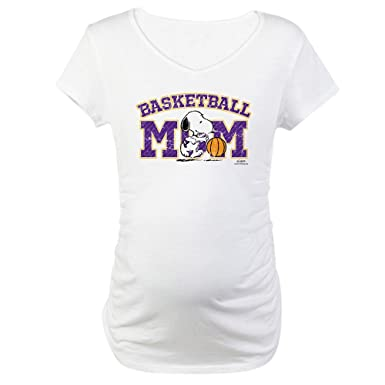 813b290c57cd8 CafePress Snoopy Basketball Mom Cotton Maternity T-Shirt, Cute & Funny Pregnancy  Tee White