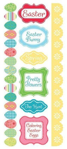 Cotton Tail Easter Borders and Phrases Cardstock Scrapbook Stickers (23522) (Easter Phrases)