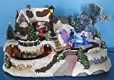 Snow Village and Amusement Park On The Hill Figure and Train Animated Fiber Optic River