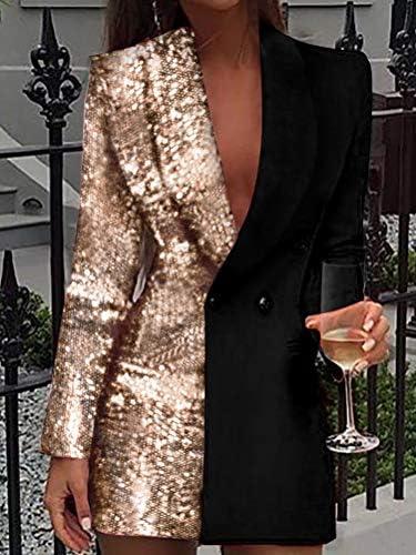 Minetom Vestiti Donna Elegante Partito Cocktail Abiti Paillettes Mini Abito Manica Lunga Paillettes Lustrini Brillante Mini Vestito Scollo A V Vestitini Blazer