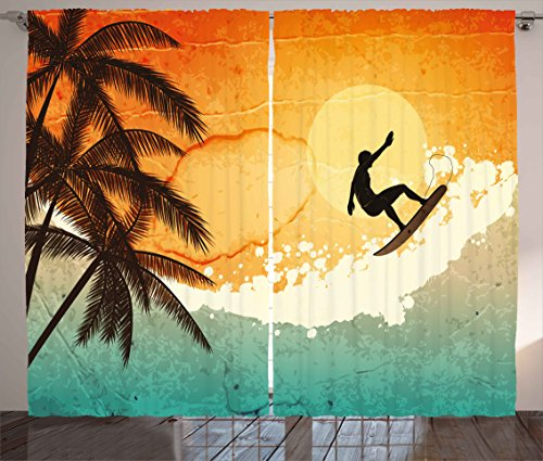 Ambesonne Grunge Curtains, Illustration of Tropical Island Surfer on Sea Waves and Palms at Sunset, Living Room Bedroom Window Drapes 2 Panel Set, 108 W X 84 L Inches, Orange Turquoise Black -