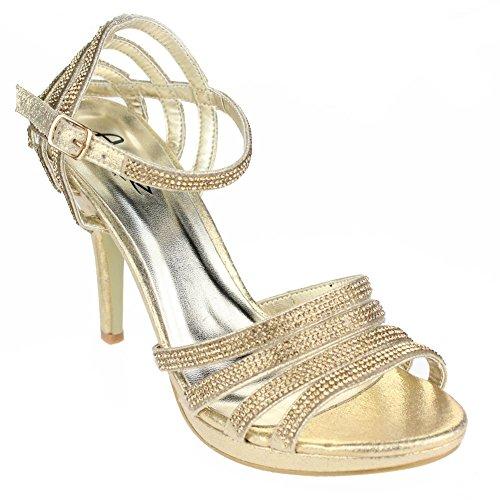 Aarz Mujeres del partido de tarde de las señoras de baile de la boda del alto talón de Diamante de la sandalia nupcial tamaño de los zapatos (Oro, Plata, Negro, Champagne, Rojo) Oro
