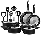 Nonstick OVEN SAFE 15 PCS Cookware Set PTFE PFOA Free Black