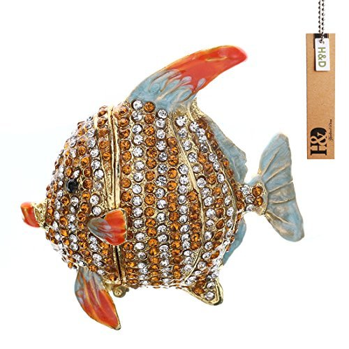 - Hyaline&Dora Tropical Fish Trinket Box Hinged Small Jewelry Ring Holder Bejeweled Figurine Collectible Decoration Gift