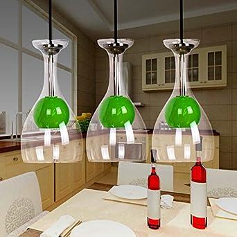 Ling@ LED Kronleuchter drei kreative Glasschale LED- Pendelleuchte ...