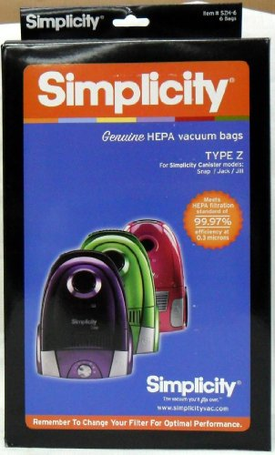 Simplicity Type Z HEPA Vacuum Cleaner Bags 6 Pack (Hepa Vacuums Simplicity)