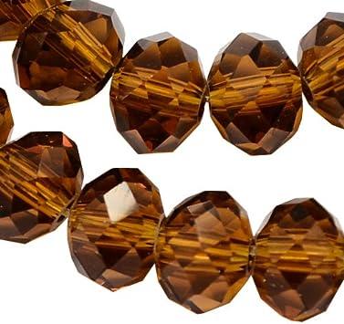 Cuentas checas de cristal de Bohemia facetadas y redondas, tamaños de 4/6/8/10 mm, colores a elegir, cristal, marrón, 6x4 mm