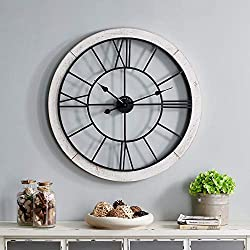 FirsTime & Co. Timeworn Cottage Wall Clock, 27, Whitewash, Aged Black