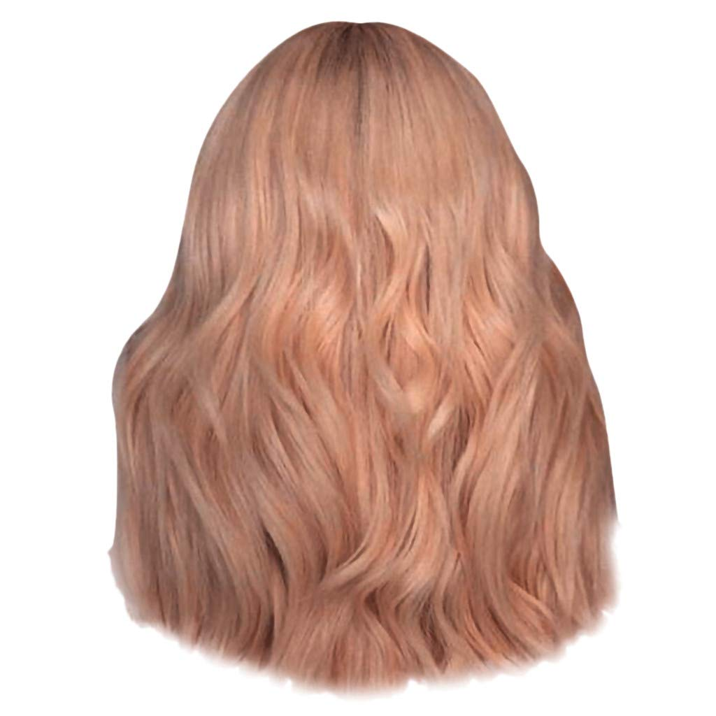 14 Inches Short Bob Wavy Hair Wig Sexy Curly Hair Lace Wigs for Women Looking Natural Heat Resistant Wigs (White & Pink) (Pink, 14'')