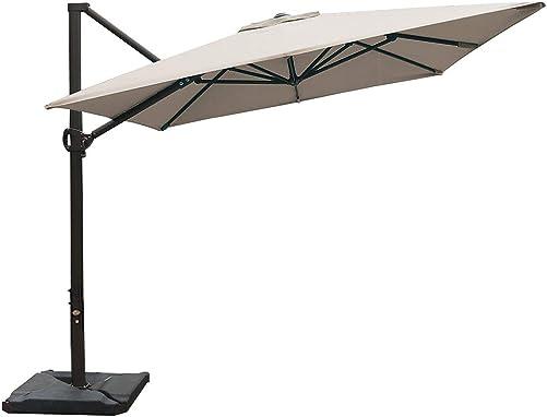 Abba Patio Rectangular Offset Cantilever Umbrella Outdoor Patio Hanging Umbrella with Cross Base, 8 x 10- Feet, Sand