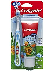 Colgate My First Baby and Toddler Fluoride Free Toothpaste and Toothbrush (colors may vary)