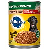 Pedigree Chopped Ground Dinner Weight Management with Beef & Liver Flavor Adult Canned Wet Dog Food, (12) 13.2 oz. Cans For Sale