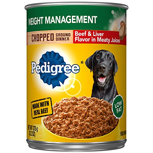 Pedigree Chopped Ground Dinner Weight Management With Beef & Liver Flavor Adult Canned Wet Dog Food, (12) 13.2 Oz. Cans