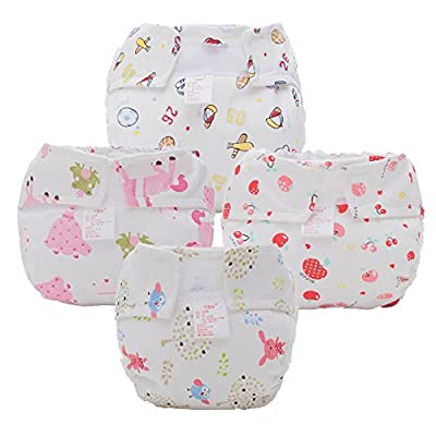 Fairy Baby Newborn Printed Cloth Fitted Diaper with Velcro Pack of 4