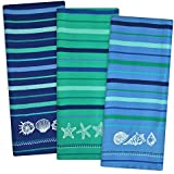"""DII Cotton Embroidered Blue Sea Dish Towels, 18 x 28"""" Set of 3, Decorative Oversized Kitchen Towels for Everyday Cooking and Baking"""