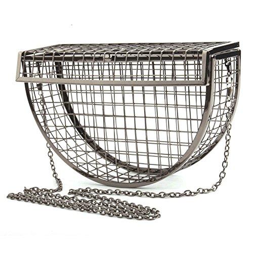 Crossbody Bag With Yunhigh C Metal Shoulder Party Luxury Chain Sling Evening Strap Clutch Women Bag Bag Hollow Handbag Silver Style Mesh Wedding qZCqxOw6