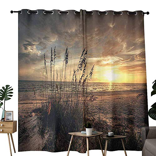 Novel Curtains Beach Calm Coastal Scene with Horizon in The Middle of Nowhere Cloudy Sunset Ocean Picture Tan Yellow Thermal Insulated Tie Up Curtain W72 xL84